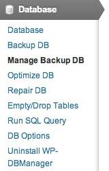 Manage Backup DB
