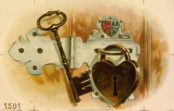 Heart shaped lock tobacco label 1887