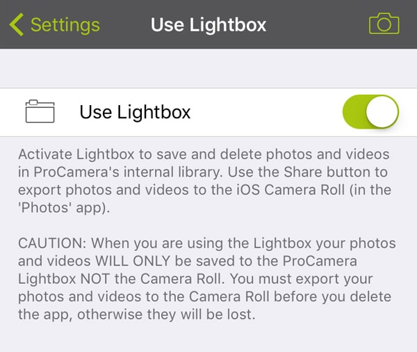 ProCamera_Lightbox_Activation_Settings
